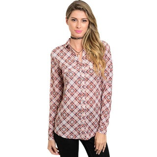 Shop The Trends Women's Long-sleeved Woven Button-down Top with Collared Neckline and Plaid Print