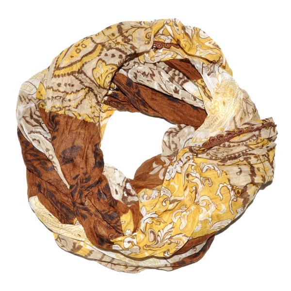Moda Gold/Brown Polyester Patterned Infinity Scarf