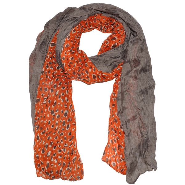 Moda Purple/Orange Polyester Animal Print Oblong Scarf