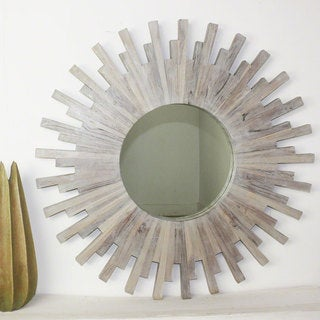 Haussman Agate Grey Teak Sunburst Mirror from Thailand