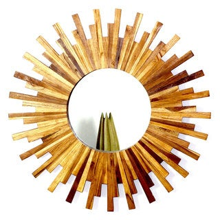 Haussman Golden Oak Oil Teak Sunburst Mirror from Thailand