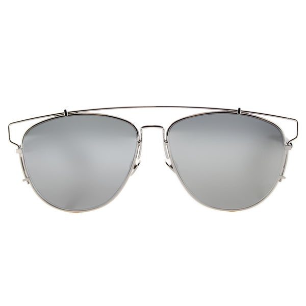 Dior Technologic 84J Silver Metal Aviator Silver Mirror Lens Sunglasses