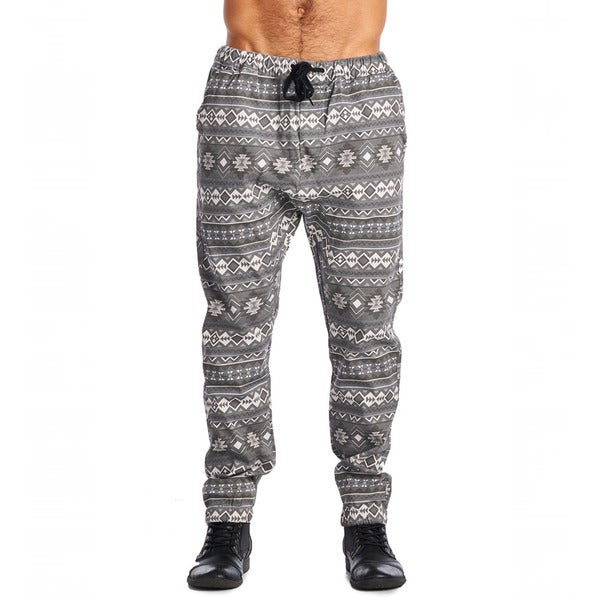 Dirty Robbers Men's Tribal Design Cotton Drawstring Joggers