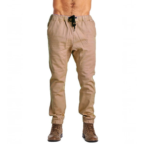 Dirty Robbers Men's Khaki and Brown Cotton Design Jogging Pants