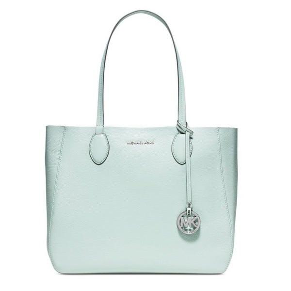 Michael Kors Mae Celadon/Silver East West Leather Tote Bag