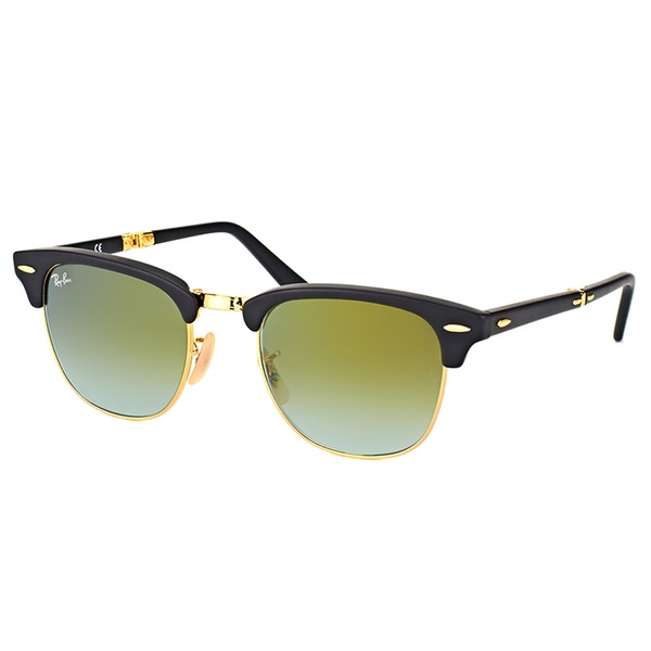 Ray-Ban Clubmaster Matte Black Plastic Folding Sunglasses with Green Flash Gradient Lens