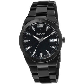 Bulova Men's 98B234 Black Ion Plated Stainless Steel Date Watch with Luminous Hands and Markers