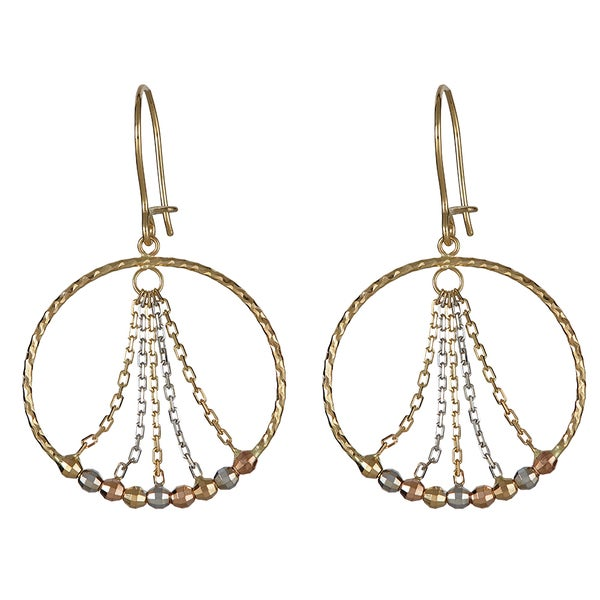 Decadence 14k Tri-color Gold Beaded Circle Dangling Earrings