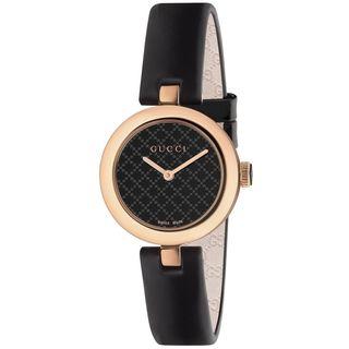 Gucci Women's YA141501 'Diamatissima' Black Leather Watch