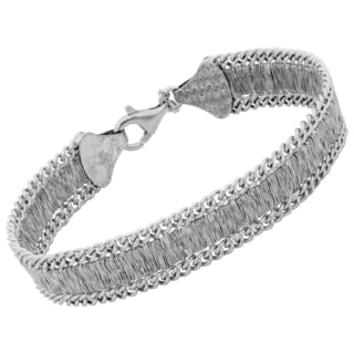 Argento Italia Rhodium Plated Sterling Silver 12-mm Stylish Bracelet (7.5 inches)