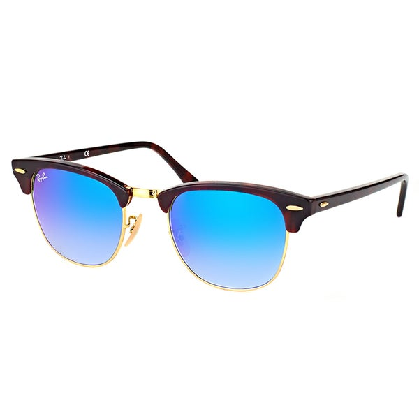 Ray-Ban Clubmaster Red Havana Plastic Sunglasses with Blue Flash Gradient Lens 19362355