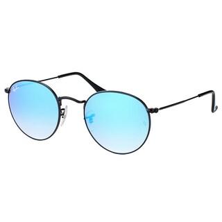 Ray-Ban RB 3447 002/4O Round Metal Shiny Black Plastic Sunglasses With Blue Flash Gradient Lens