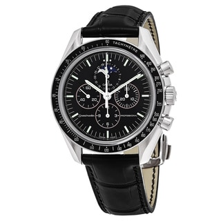 Omega Men's 3876.50.31 'Speedmaster' Black Dial Black Leather Strap Moon Phase Chronograph Swiss Automatic Watch
