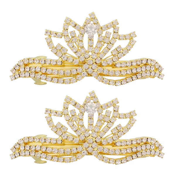 Moda Queen Bee Gold/Silver Metal Barrettes (Set of 2)