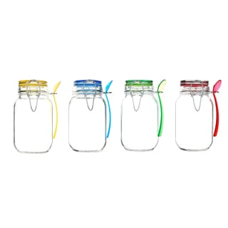 Kinetic GoGreen Glass 15-ounce Mini Jar With Jewel-colored Lid and Spoon (Pack of 4)