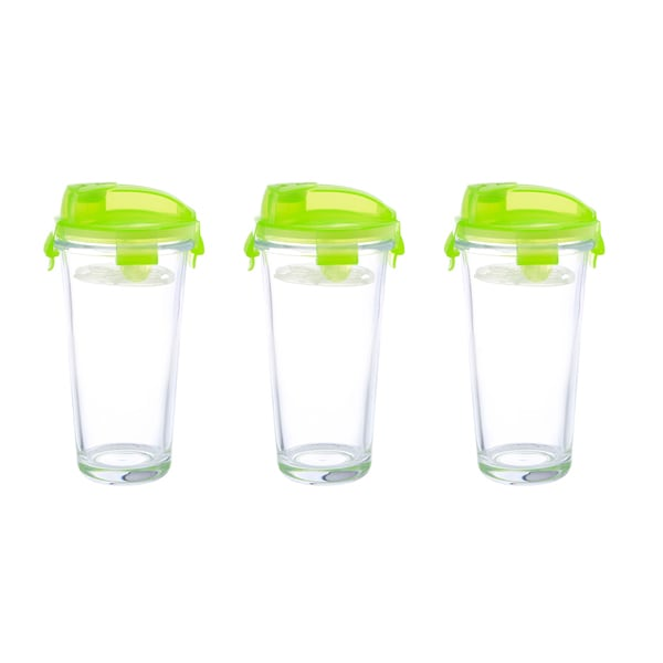 Kinetic GoGreen 14-ounce Glass Shaker with Pour Spout Lid and Mixer Blender (Set of 3)