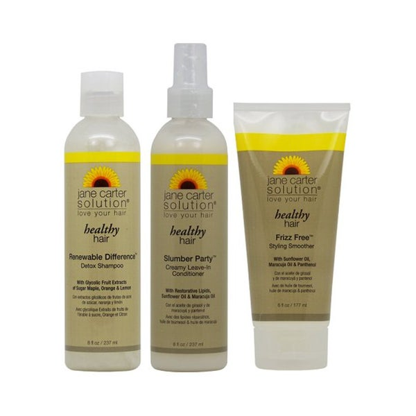 Jane Carter Healthy Hair Shampoo, Leave-In Conditioner, and Frizz Free Smoother 3-piece Set
