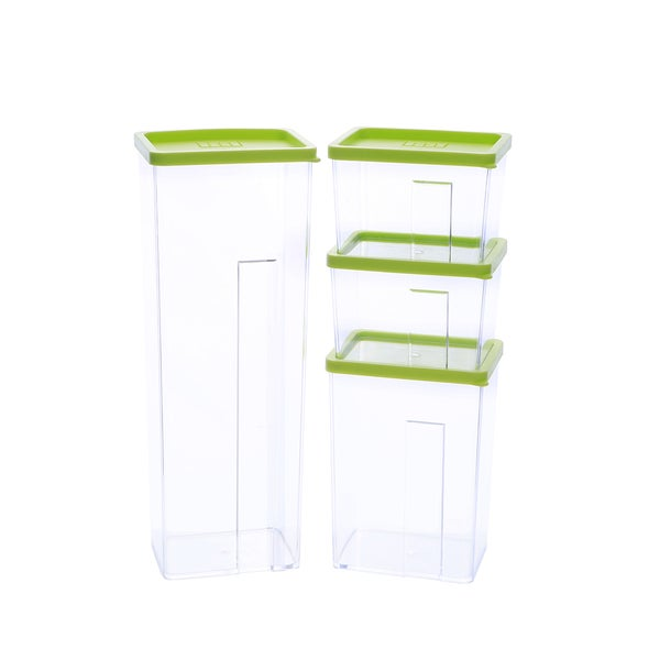 Kinetic GoGreen StackSmart 9-Piece Rectangular Stackable Food Storage Container Set With Green Lids and 1-Pour Spout Lid