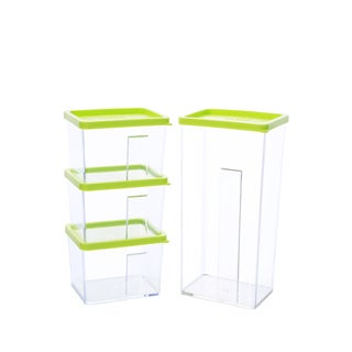 Kinetic GoGreen StackSmart Rectangular Stackable Food Storage Container Set with Green Lid (8 Pack)