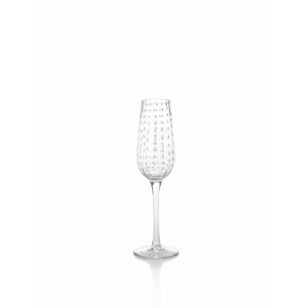 White Dots Champagne Flute