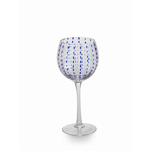 Blue Dots Wine Goblet Set