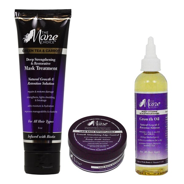 The Mane Choice Growth Stimulating Edge Control, Scalp Nourishing Growth Oil, and Mask Treatment 3-piece Set