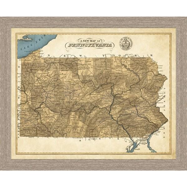 Framed Map of Pennsylvania
