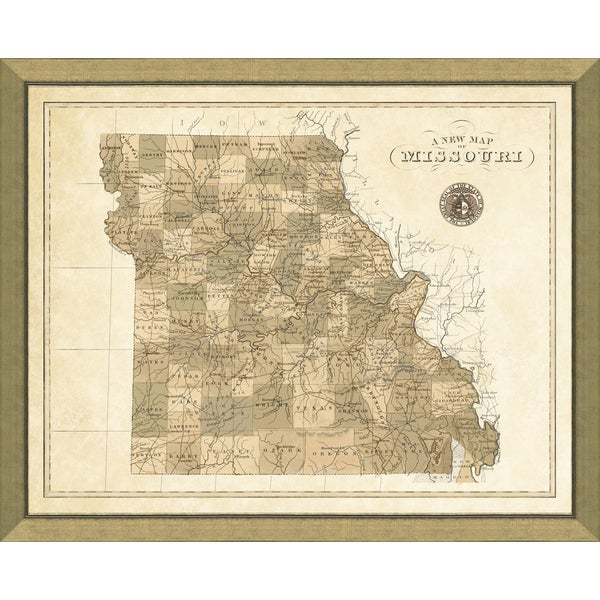 Multi-color Glass, Paper, Wood Map of Missouri Giclee Print