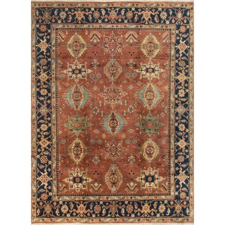 Heriz Gladstone Rust/Blue Wool Hand-knotted Rug (8'11 x 12'1)
