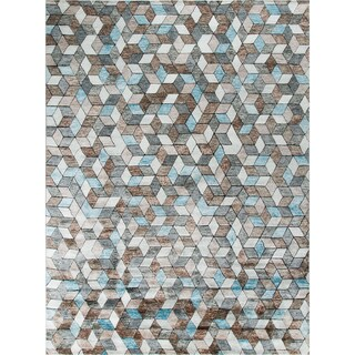 Barclay Ivory/Blue Viscose Rug (8'11 x 11'11)