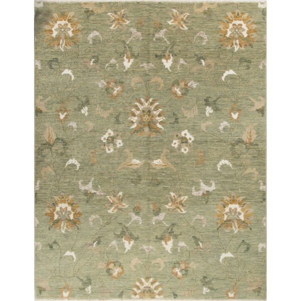 Heathcote Lt. Green/Beige Wool/Viscose Turkish-knotted Rug (7'9 x 9'10)