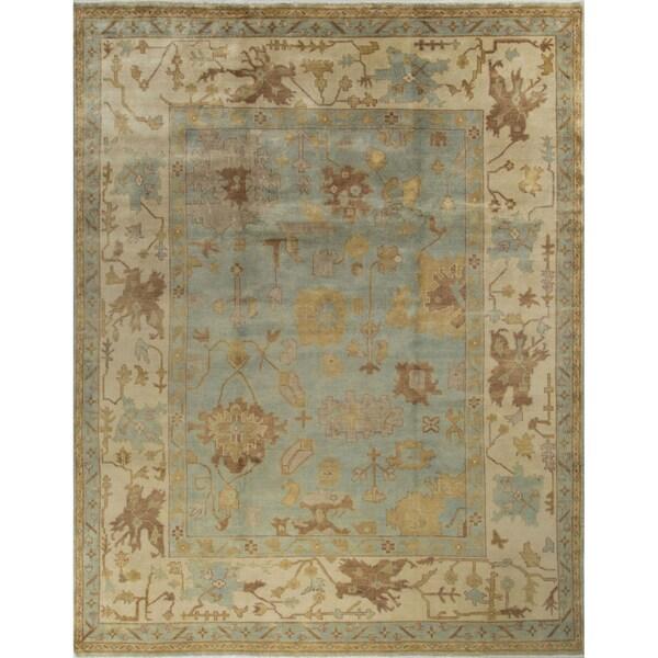 Oushak Erwin Blue/Ivory Wool Oriental Rug (9'2 x 11'10)