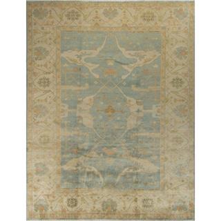 Oushak Egerton Light-blue Wool Rug (8'11 x 11'6)