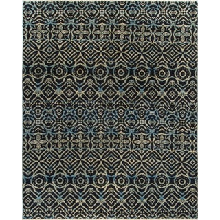 Blue/Ivory Wool Ikat Rug (7'10 x 9'8)