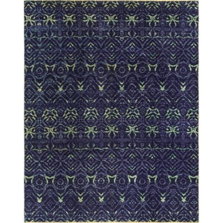 Ikat Devereux Blue Wool Latex-free Rug (8' x 9'10)
