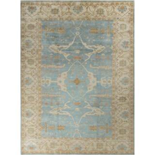 Oushak Jamieson Light Blue/Beige Wool Rug (10'3 x 14')