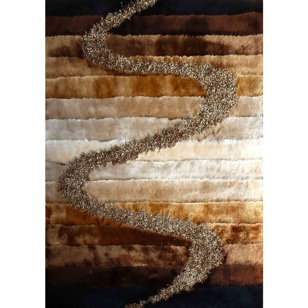 Brown Multicolored Multiple Pile Shag Area Rug (5-feet x 7-feet)