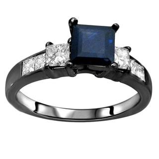 Noori 14k Black Gold Blue Sapphire 3/4ct TDW Diamond Engagement Ring (G-H, SI1-SI2)