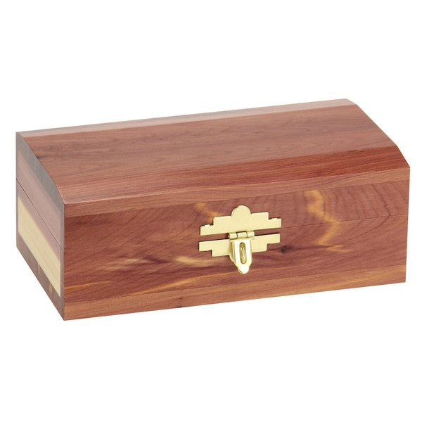 Household Essentials Small Cedar Keepsake Box with Beveled Edges