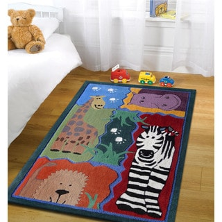 Multicolor Polyester Hand-tufted Jungle Design Rug (4' x 6')