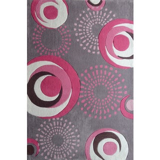 Dancing Circles Pink/Silver/Grey Polyester Kids Hand Tufted Rug (4' x 6')