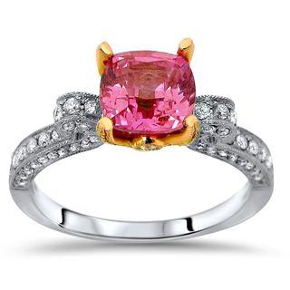 Noori 18k Two-tone Gold Pink Sapphire 5/8ct TDW Diamond Engagement Ring (G-H, SI1-SI2)
