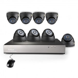 Funlux 700TVL 8 Channel 8 Dome Cameras Black DVR System with 1TB HDD