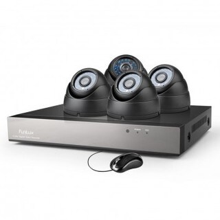 Funlux 8CH 960H DVR Black Security System with 4 700TVL Dome Cameras and 500GB HDD