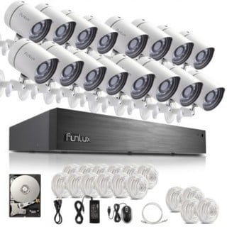 Funlux 16 Channel sPoE NVR 16 720P Indoor Outdoor IP Cameras System with 2-terabyte Hard Drive
