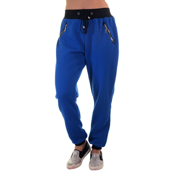 Women's Quilted Jogger Pants with Zip-up Pockets