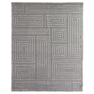 Exquisite Rugs Metro Velvet Silver New Zealand Wool/Viscose Rug (9' x 12')