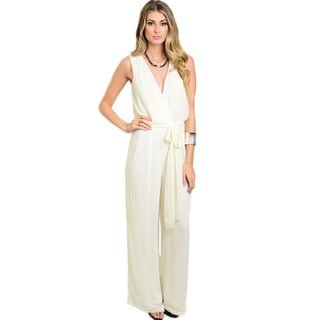Shop The Trends Women's Sleeveless Jumpsuit with Plunging Neckline and Self-tie Closure on Waist