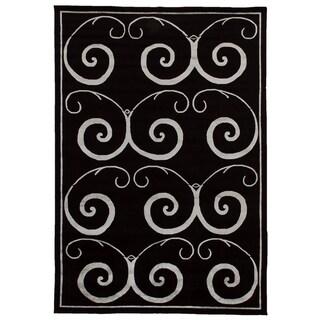 Exquisite Rugs Black/Silver Wool/Silk Tibetan-weave Art Rug (9' x 12')