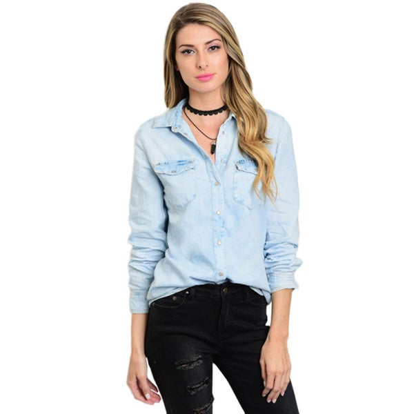 Shop The Trends Women's Long-sleeve Blue Denim Button-up Top